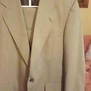 Men's Khaki Green Cotton-blend Dress Suit